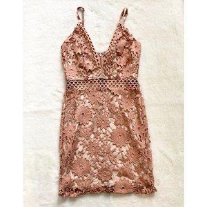 Fashion Nova Nude/Light Pink Floral Lace Dress